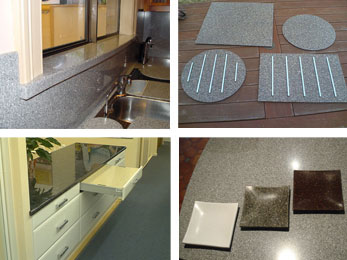 WINDOW SILLS, STARON ACCESSORIES, SOLID SURFACE SLIDE OUT TABLE, OCCASIONAL BOWLS